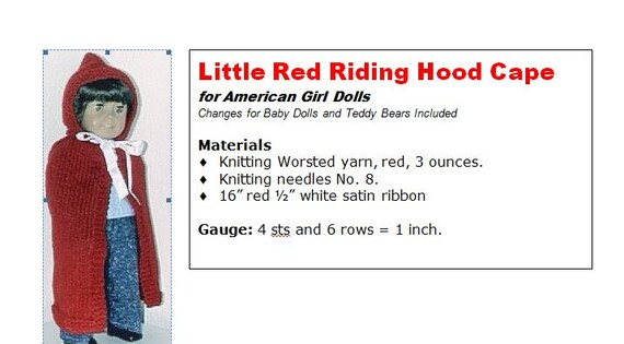 Little Red Riding Hood Cape for American Girl, Bitty Baby ...