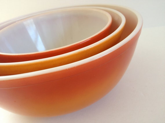 Reserved 3 Flameglo Vintage Pyrex Mixing Bowls 402 403