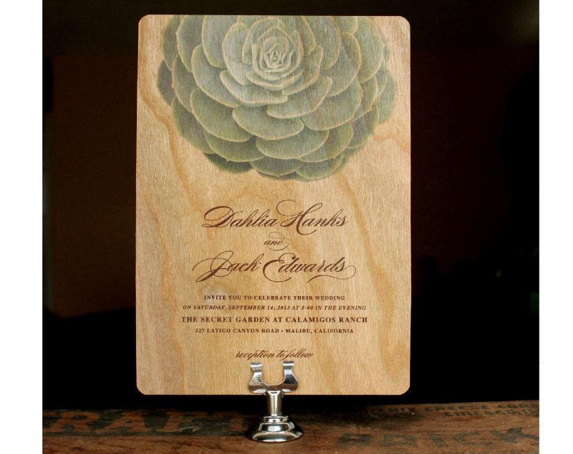 Real Wood Wedding Invitations: Succulent Wedding Invitation Real Wood