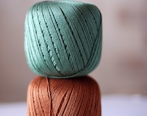 100% Cotton yarn  - 2 balls - mercerized cotton yarn - olive, dark gold
