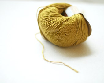 Cotton linen viscose yarn - mustard - 50gr