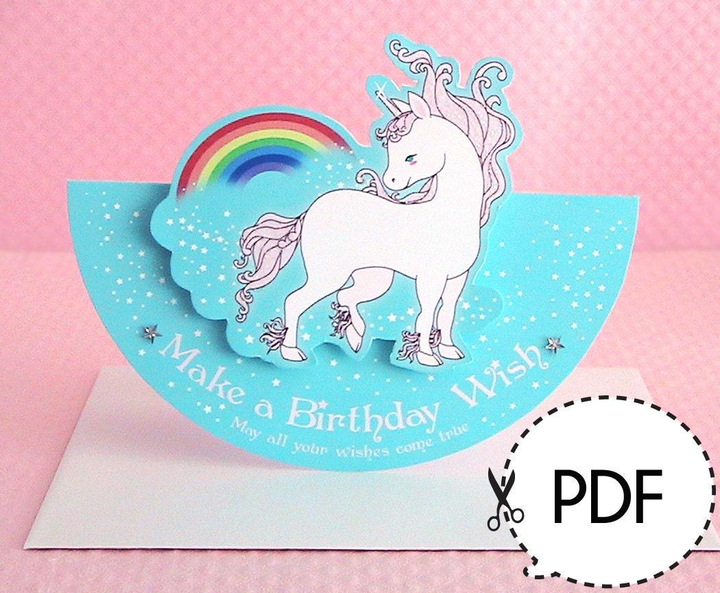 unicorn seesaw birthday cardprintable pdf download