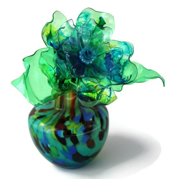Teal Green Flower Vase Gift Aqua Blue Lime Green Royal