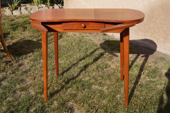 Vintage Retro Mid Century Wood Kidney Dressing Table Vanity