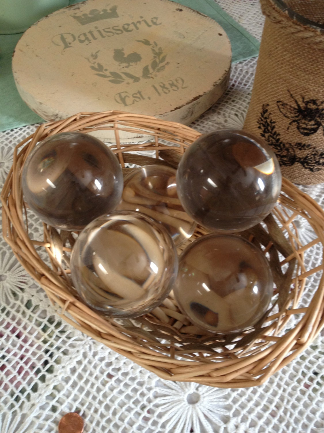 Large glass spheres balls decorative clear by