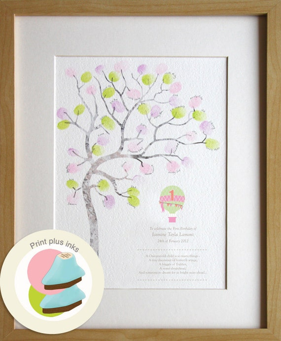 Baby Gift 1 Year Old : Birthday girl gift year old fingerprint tree guest