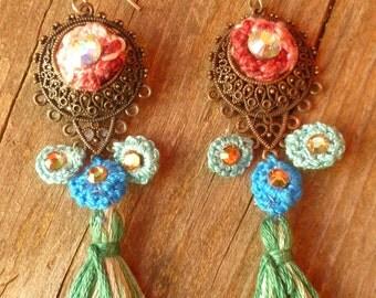 Boho Chic Dangle Crochet Earrings with Swarovski Crystal. Hippie Jewelry