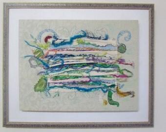 The joy of colors,  hand embroidery, wall decor fiber art OOAK