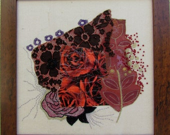 RED like WINE, hand embroidery, mixed media, wall hanging, wall decor, OOAK