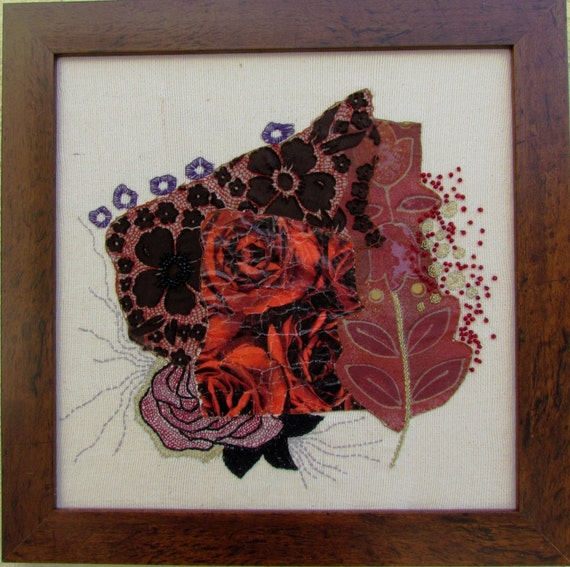 RED Like WINE Hand Embroidery Mixed Media Wall Hanging