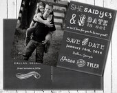Chalk Save the Date Photo Card - Postcard back, chalkboard style front, She said Yes, Save the Date postcard