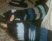 "Black and Blue Fingerless ""Texting Gloves"""