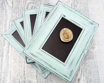 10 AQUA SHABBY CHIC Wedding Chalkboard Frames, Table Numbers, Up-cycled Picture Frames