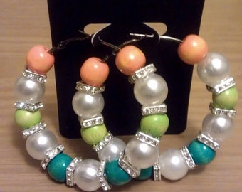Love and Hip Hop and basketball wives inspired 60mm hoop with multi-colored and pearl like beads