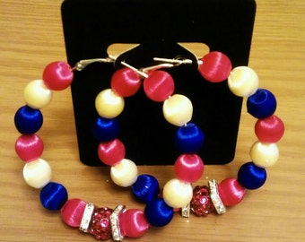 Love and Hip Hop and  Basketball wives inspired 60mm hoop with red white and blue vintage silk beads