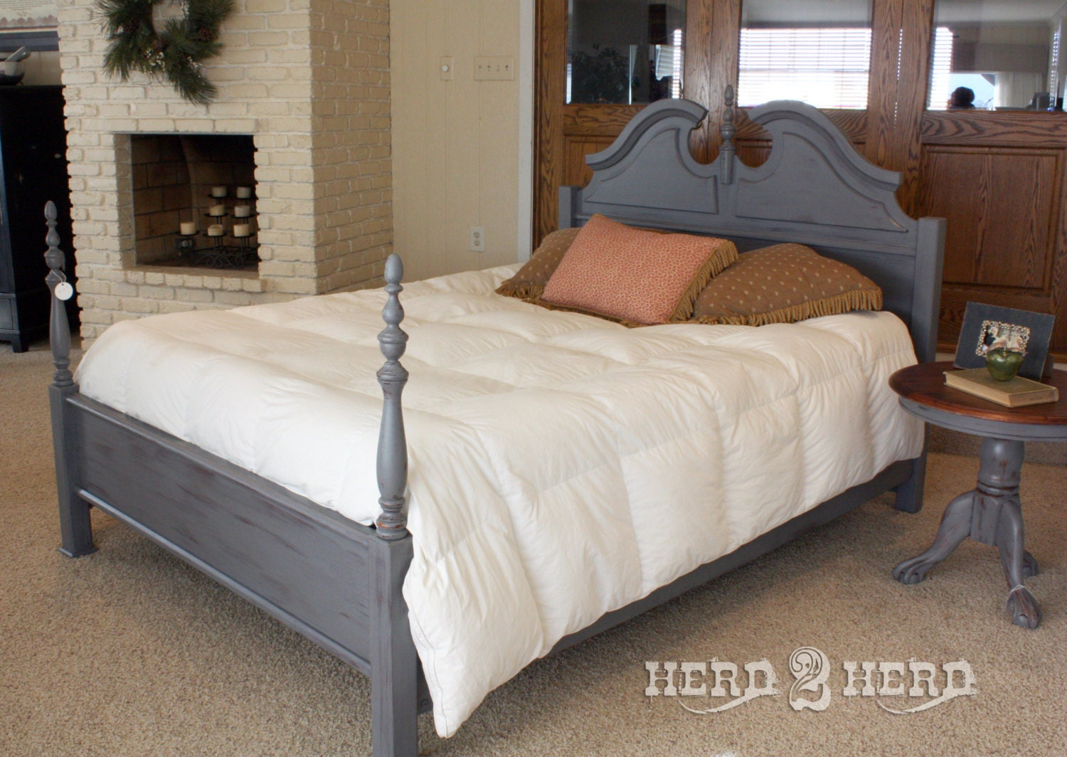 shabby chic charcoal queen bed frame by herd2herd on etsy