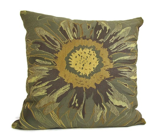 Gold Brown Throw Pillows : Items similar to Decorative Pillows, Green Gold Brown Modern Sunflower Pillow Cover, Tapestry ...