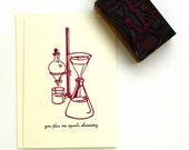 Letterpress card - Chemistry. Blank greeting card. Vintage. Letterpress.