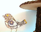 Unique Shabby chic ornamental bird knick knack with black, navy and golden accents, hand painted customization