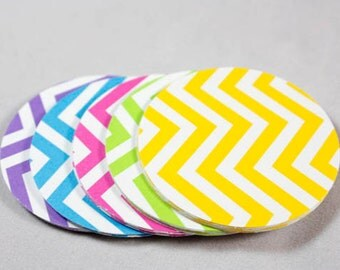 25 Chevron Die Cut Paper Circles, 2 inch Circles, Tags, Scrapbook Paper, Embellishments, Paper Craft, Paper Rounds, Confetti