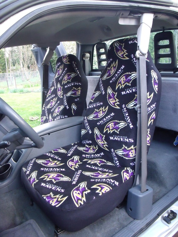 1 set of nfl baltimore ravens print seat covers and steering. Black Bedroom Furniture Sets. Home Design Ideas