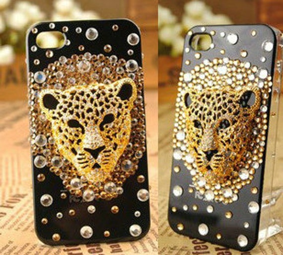 DIY cell phone case deco kit Leopard Diamonds DIY phone case