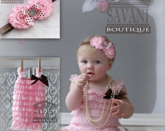 2 pieces light pink  Petti Romper Set. Lace Petti Romper , headband and romper, Baby Girl Photo Prop