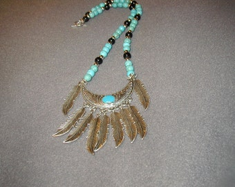 Turquoise beaded silver feather bib necklace