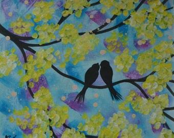 "Valentine Birds / Art Print of Original Acrylic Painting  ""SPRING GARDEN"" Size 10""X12"" / Anniversary, Wedding or Engagement Gift"