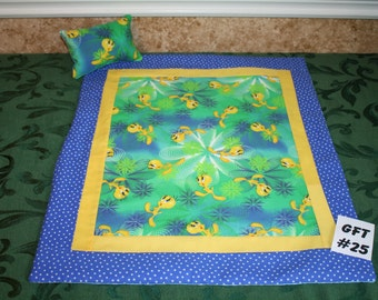 "Tweety Bird, American Girl sized, reversible doll bed quilt 17"" x 21"" with matching pillow 4"" x 6"""