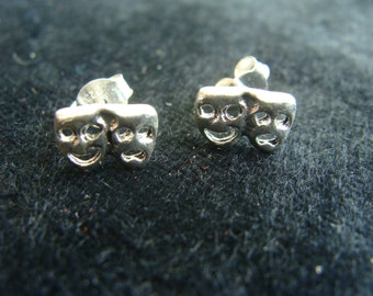 Neat Sterling Silver THEATRICAL FACES Happy / Sad earrings