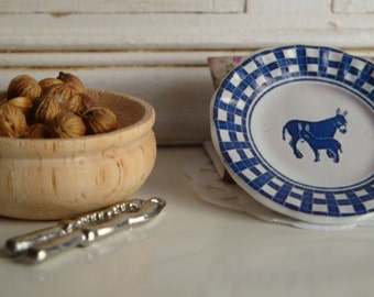 Blue Donkeys Plate for Dollhouse in 1:12 Scale