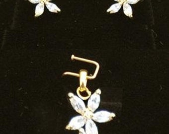 White Stone Jasmine Earrings and Pendant Set