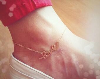 Lovely 'love' pendant anklet, 14k gold filled, sweet and lovely