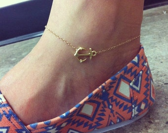 Sideways anchor anklet 14K gold filled chain, delicate and cute.