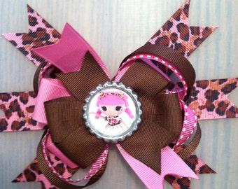 Lalaloopsy pink and brown animal print Hairbow