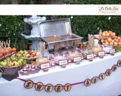 Wood banner decorated with felt for dessert table