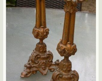 4pcs 2 pairs French antique 19th century candle stick Lys Candelabra  angel Gothic fire piano hunting dog bird rabbit  bronze candle stick