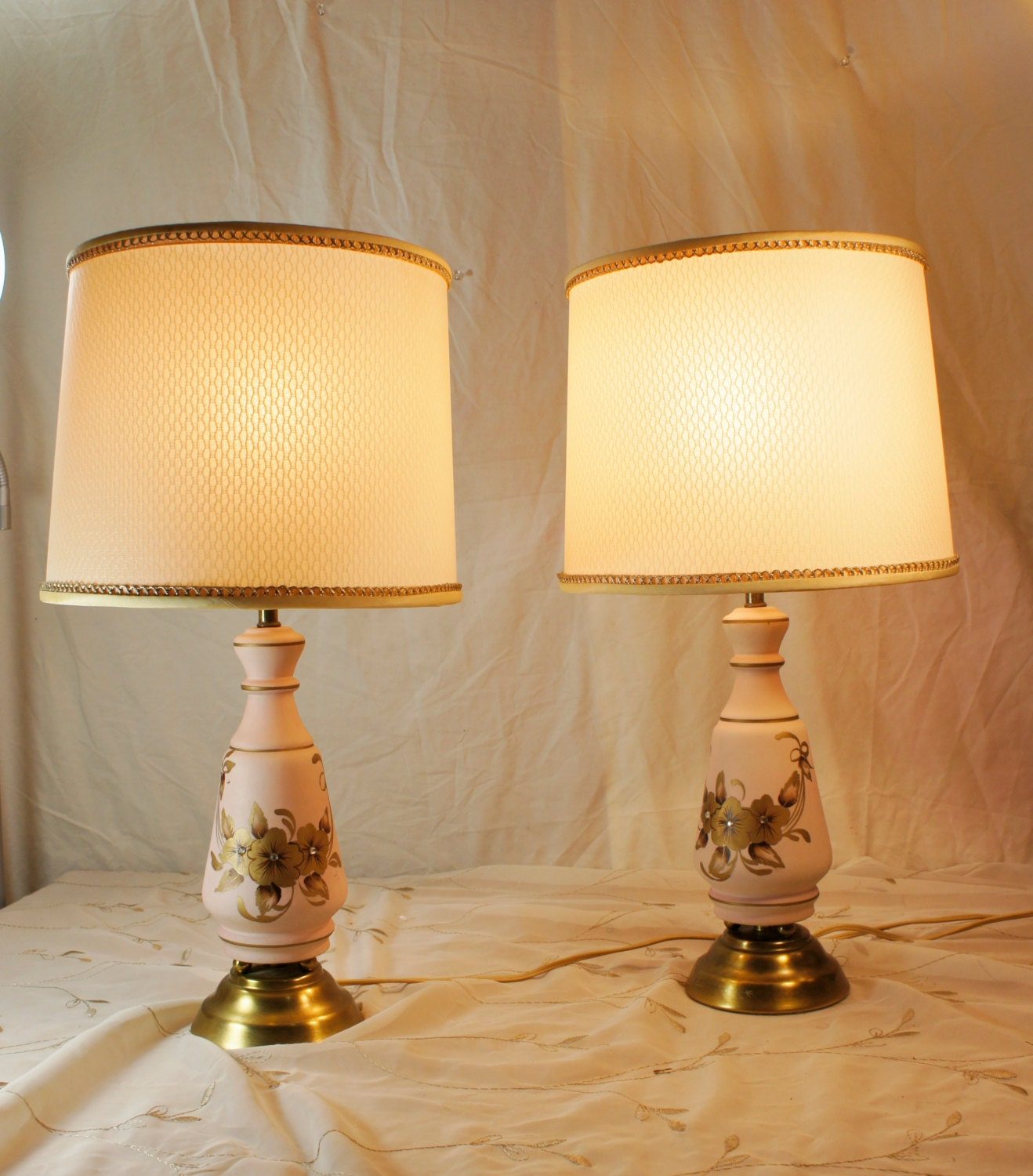 Pair Pink And Gold Bedroom Lamps With Shades Flowers By Gleaned