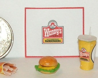 Dollhouse Miniature  Take Out Food Combo Set W 1:12 one inch scale