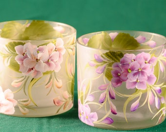 Hand Painted Hydrangea Cylinder Glass Vase / Candle Holder