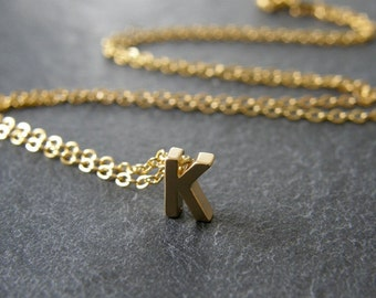 Tiny Gold Initial Letter K Necklace, Gold Initial, Personalized Necklace, Simple, Modern, Everyday