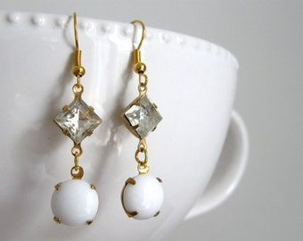 Vintage Style White Glass Stone and Crystal Rhinestone Drop Earrings, Bridesmaid Earrings, Mom Gift