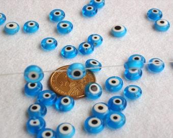 Turquoise Turkish Evil Eye Glass Beads 10 Pcs Nazar Evil Eye Set of 10 beads