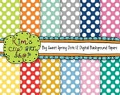 Big Spring Polka Dots, 12x12, background papers, polka dot papers, scrapbooking papers, polka dot backgrounds