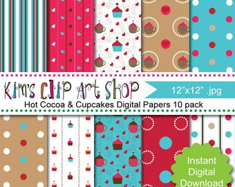 INSTANT DOWNLOAD Digital Paper Pack - Hot Cocoa and Cupcakes by kimsclipartshop