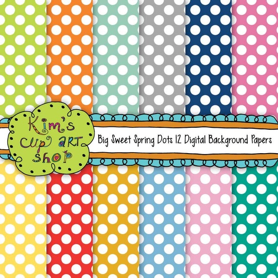 Big Spring Polka Dots 12x12 background papers by ...