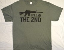 T-Shirt: I Plead the 2nd, in Heather Green, Pro-Gun, AR-15, M-16, Army Tee, in Sizes S-3XL
