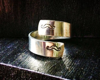 Mustache Ring, Personalized Ring, Engraved Ring, Adjustable, Nautical, Dragonfly ring, music ring, peace ring, yin yang SPRALS01