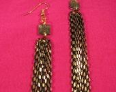 Black and gold dangle chain earrings
